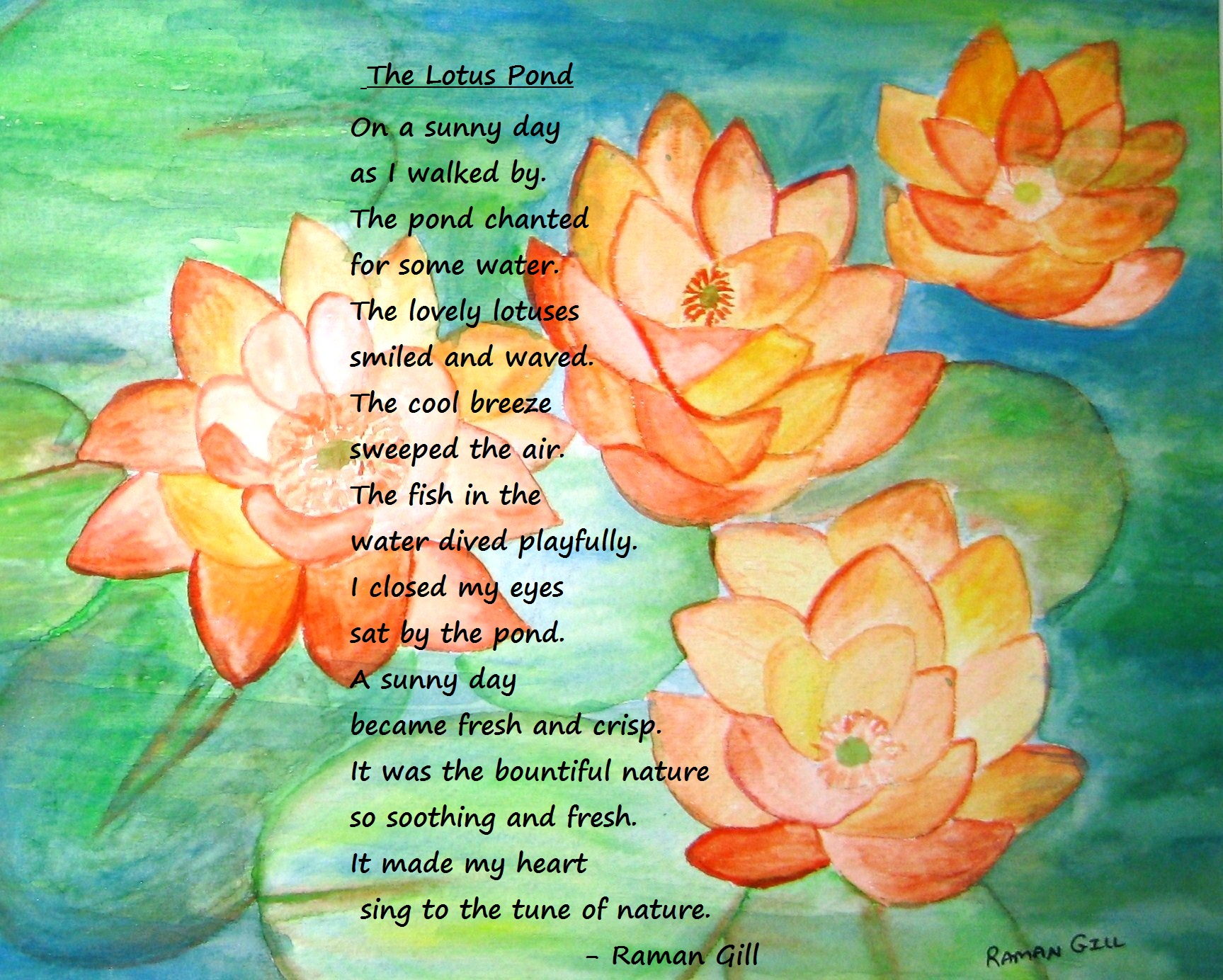 The Lotus Pond Raman Gill Creations Inspiring And Positive